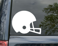 White football helmet custom vinyl decal by Minglewood Trading. Applied to the rear window of a minivan.
