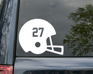 White football helmet with the number 27 custom vinyl decal. By Minglewood Trading. Applied to the rear window of a minivan.