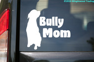 White custom vinyl decal of a silhouette of a sitting pitbull with the words BULLY MOM to the right. By Minglewood Trading. Applied to the rear window of a minivan.