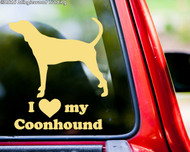custom cream/ivory vinyl decal of a Coonhound silhouette with I LOVE my Coonhound beneath.