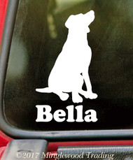 Sitting Labrador Retriever with Personalized Name Vinyl Sticker - Lab Dog Puppy - Die Cut Decal