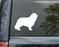 custom white vinyl decal of a Cavalier King Charles Spaniel silhouette by Minglewood Trading. Applied to the rear window of an SUV.