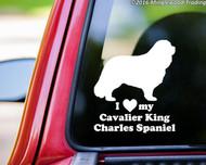 "I Love My Cavalier King Charles Spaniel vinyl decal sticker 6"" x 7"" Dog"