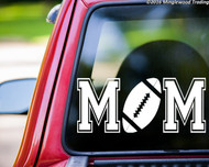 Custom white vinyl decal of Football Mom (two 'M's with a football between) by Minglewood Trading. Applied to the rear window of an truck.