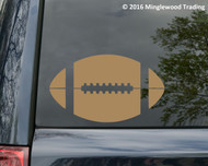 Light Brown white vinyl decal of a football by Minglewood Trading. Applied to the rear window of an minivan.