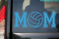 Custom light blue vinyl decal of Volleyball Mom (two 'M's with a volleyball between) by Minglewood Trading. Applied to the rear window of an truck.