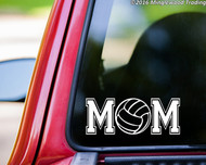 Custom white vinyl decal of Volleyball Mom (two 'M's with a volleyball between) by Minglewood Trading. Applied to the rear window of an truck.