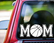 Custom white vinyl decal of Basketball Mom (two 'M's with a basketball between) by Minglewood Trading. Applied to the rear window of an truck.