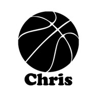 Basketball with Personalized Name Vinyl Sticker  - Die Cut Decal