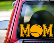 Custom yellow vinyl decal of Tennis Mom (two 'M's with a tennisball between) by Minglewood Trading. Applied to the rear window of an truck.