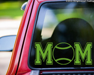 Custom lime green vinyl decal of Softball Mom (two 'M's with a softball between) by Minglewood Trading. Applied to the rear window of an truck.