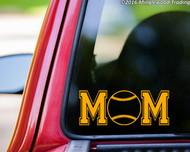 Custom yellow vinyl decal of Softball Mom (two 'M's with a softball between) by Minglewood Trading. Applied to the rear window of an truck.