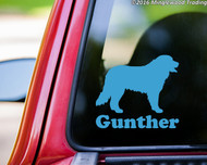 "Light Blue custom vinyl decal of a Bernese Mountain Dog with the name ""Gunther"" below. By Minglewood Trading. Applied to the rear window of an truck."