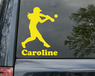 "Softball Batter Hitter Vinyl Decal Sticker w/ Custom Personalized Name 15"" x 15"""