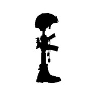 "Fallen Soldier Battle Cross custom vinyl decal sticker 8"" x 3"" Battlefield Honor"