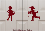 Custom burgundy vinyl decals of a Little Cowgirl and Little Cowboy by Minglewood Trading. Applied to an interior door.