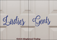 "Custom cobalt blue vinyl decal of ""Ladies"" and ""Gents"" by Minglewood Trading.  Applied to an interior door."