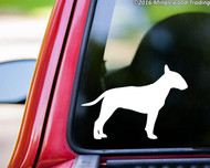 White custom vinyl decal of a Bull Terrier. By Minglewood Trading. Applied to the rear window of an truck.