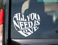 "All You Need is Love  vinyl decal sticker 6"" x 5"" Beatles Inspired Heart Quote"