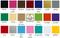 Color chart showing the twenty different colors Minglewood Trading offers their custom vinyl decals in.