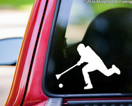 White custom vinyl decal sticker of a broomball player by Minglewood Trading. Applied to the rear window of a truck.