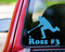 Sky blue custom vinyl decal sticker of a broomball player with the name Ross and #3 underneath, by Minglewood Trading. Applied to the rear window of a truck.