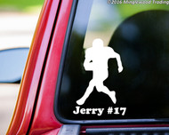 "White custom vinyl decal of a football player with the personalized name ""Jerry #17"" below. By Minglewood Trading. Applied to the rear window of a truck."