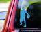 Sky blue custom vinyl decal of a male basketball player. By Minglewood Trading. Applied to the rear window of a truck.