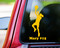 "Yellow custom vinyl decal of a female basketball player with the personalized name ""Mary #15"" below. By Minglewood Trading. Applied to the rear window of a truck."