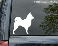 White custom vinyl decal of a long-haired chihuahua. Applied to the rear window of a minivan. By Minglewood Trading.