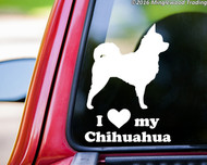 "White custom vinyl decal of a long-haired chihuahua with the words ""I (love) My Chihuahua"" below. Applied to the rear window of a pickup truck. By Minglewood Trading."