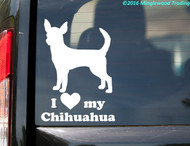 "White custom vinyl decal of a short-haired chihuahua with the words ""I (love) My Chihuahua"" below. Applied to the rear window of a minivan. By Minglewood Trading."