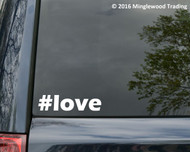 "White ""#love"" custom vinyl decal applied to the rear window of an suv. By Minglewood Trading."