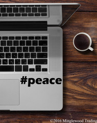 "#peace Peace Hashtag vinyl decal sticker 5"" x 1.25"""