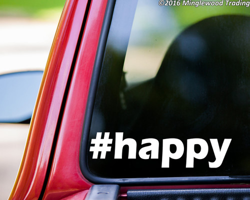 """White """"#happy"""" custom vinyl decal applied to the rear window of a truck. By Minglewood Trading."""