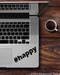 """Black """"#happy"""" custom vinyl decal applied to the palmrest of a Macbook Pro. By Minglewood Trading."""