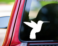 White hummingbird custom vinyl decal applied to the rear window of a truck. By Minglewood Trading.