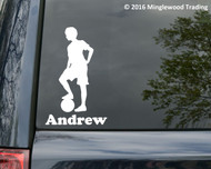 "Soccer Player Boy Standing with Personalized Name vinyl decal sticker 6.5"" x 4"" Ball"