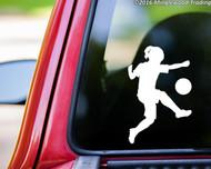 """Soccer Player Girl Kicking Ball vinyl decal sticker 5"""" x 3.25"""""""