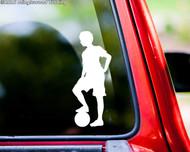 """Soccer Player Boy Standing vinyl decal sticker 5.5"""" x 2.25"""" Ball"""