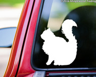 "Long-Haired Cat Sitting vinyl decal sticker 5"" x 4"" DLH Feline Longhair"