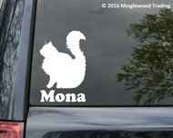 White custom vinyl decal of a Longhaired Cat with personalized name underneath (Mona)