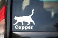 White custom vinyl decal of a shorthaired Cat with personalized name underneath (Copper)