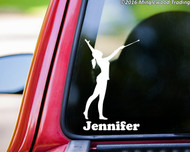 "Baton Twirler vinyl decal sticker with Custom Name 6"" x 3.5"" Majorette"