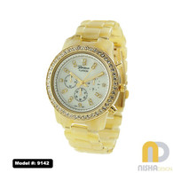 Bone and Gold Tortoise Shell watch with chronograph style face