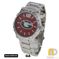 Georgia-Bulldogs-Mens-Metal-Watch