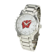 Wisconsin-Badgers-Mens-Metal-Watch