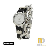 black-and-silver-leather-wrap-watch-with-chain