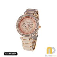 Rose Gold double row cz bezel ladies metal watch