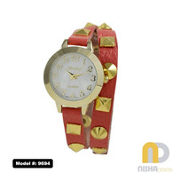 red beaded with spikes wraparound leather band mother of pearl watch